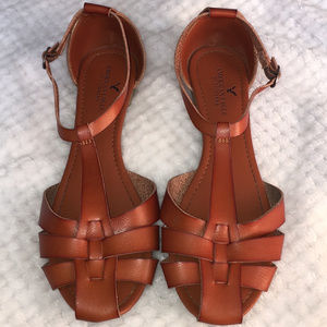 American Eagle Outfitters AEO Brown Leather Sandal